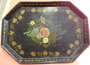 Antique Small Octagonal Hand Painted Tole Tray Peaches Grapes