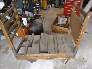 Three Antique Wood Industrial Factory Cart Railroad 50x25 Cast Iron Wheels