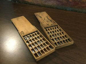 Antique Vintage Lead Printing Letterpress Type Set In Wooden Trays