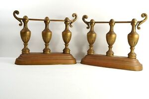 Vintage Brass Bookends Pair Greek Urn Inspired Unmarked Bolted Iron Inserts