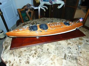 Beautiful Wooden Model Of A Chris Craft Triple Cockpit Boat