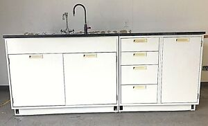 7 Base Laboratory Cabinets Industrial Grade Top With Sink And Faucets