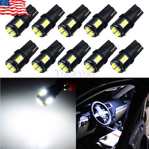 10x 6000k White 2825 W5w T10 168 194 921 Interior License Plate Led Light Bulb