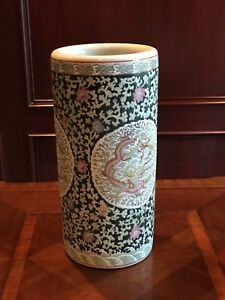 Handmade Chinese Porcelain Vase Dragon Themed Cylindrical