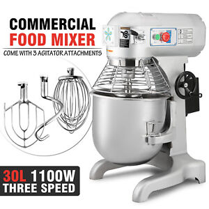 30 Qt 1 5 Hp Commercial Dough Food Mixer 3 Speed Floor Stand Stainless Steel