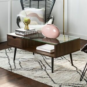 Mid century Modern 42 inch Wood And Glass Coffee Table