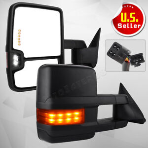 Black Power Led Turn Signals Tow Side Mirrors For 88 98 Chevy Gmc C K Obs Pickup