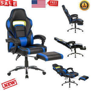 Office Gaming Chair Racing Reclining Bucket Seat Computer Footrest Ergonomic Us