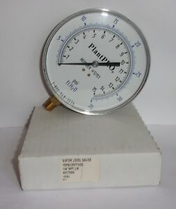 Plant Pro Water Level Gauge 12151 0 15 Psi 0 34 65 Ft H2o 1 4 Npt Lm New