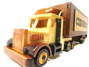 Semi Truck Trailer Real Wooden Handmade Style Stash Box Trinket Storage New