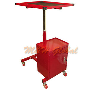 Adjustable Metal Tool Cart Workstation 2 Drawer Work Table Tool Chest Red