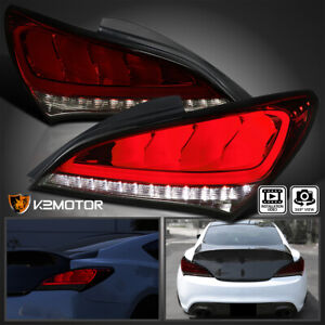 red Smoked Fits 2010 2015 Hyundai Genesis Coupe 2dr Led Sequential Tail Lights
