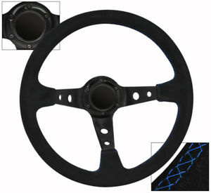 Universal 6 Bolt 350mm Black Suede Leather Blue Stitch Steering Wheel Jdm Euro