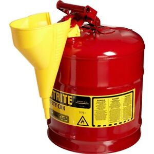Justrite 7150110 5 Gallon 11 75 Od X 16 875 H Steel Type I Red Safety Can