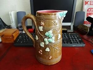 Antique Circa 1880 S Boch Freres Keramis Pitcher With Flower Design