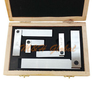 4 Pc Steel Hardened Square Set 2 3 4 6 Right Angle 90 Degree With Box