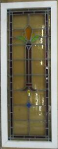 Victorian English Leaded Stained Glass Window Colorful Pillar 16 25 X 41 75