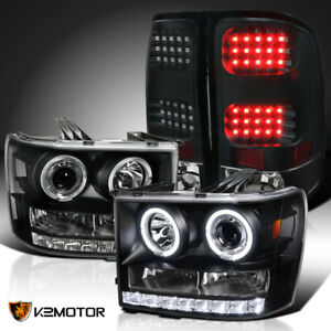 07 13 Gmc Sierra 1500 25 3500hd Led Black Halo Projector Headlights tail Lamps
