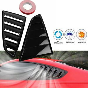 Pair 1 4 Quarter Side Window Scoop Louver Cover For Ford Mustang 2015 2017 Black