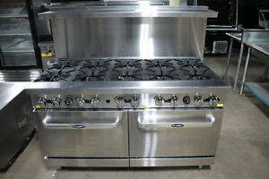 New Heavy 60 Range 10 Burner With 2 Full Ovens Range Stove Natural Gas Only