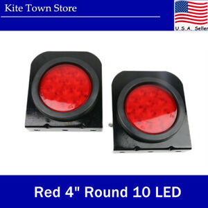 2pc Red 4 Round 10 Led Truck Trailer Stop Brake Turn Tail Lights With Brackets