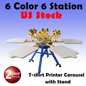 Usa 6 Color 6 Station Screen Printing Machine Press T shirt Printer Carouse