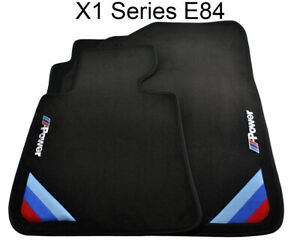 Bmw X1 Series E84 Black Floor Mats With m Power Emblem With Side Clips Lhd