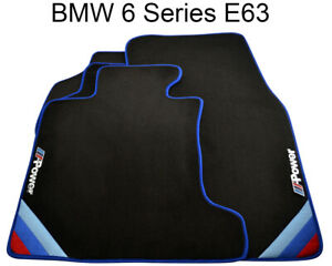 Bmw 6 Series E63 Black Floor Mats Blue Rounds With M Power Emblem Lhd New