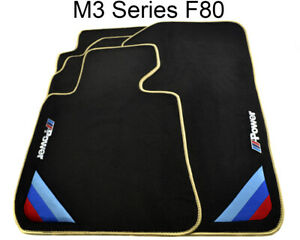 Bmw M3 Series F80 Black Floor Mats Beige Rounds With m Power Emblem