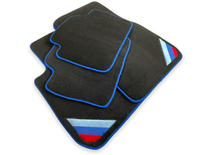 Bmw M6 Series F06 Gc Black Floor Mats Blue Rounds With m Power Embl