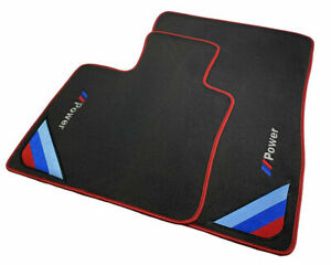 Bmw 1 Series E88 Black Floor Mats Red Rounds With m Power Emblem Lhd New