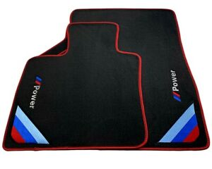 Floor Mats For Bmw M5 Series F10 Black Red Rounds Power Emblem Lhd New