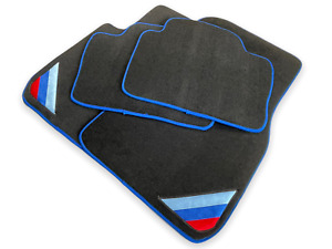 Bmw 5 Series E60 E61 Black Floor Mats Blue Rounds With m Power Emblem Lhd New