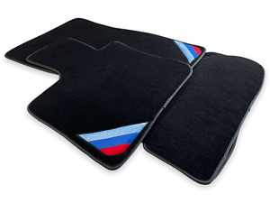 Floor Mats For Bmw M4 Series F83 Black Blue Rounds With Power Emblem Lhd New