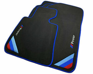 Bmw 5 Series F10 F11 Black Floor Mats Blue Rounds With m Power Emblem Lhd New