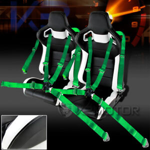 Jdm Speed Racing Seats Reclinable Style Black And White Camlock Seat Belt Green