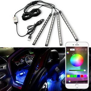 4x Rgb Led Under Car Tube Strip Underbody Glow Neon Light Kit Phone Control Usb