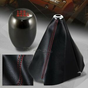 Red Stitch Leather Manual Shift Boot Gunmetal 6 speed Shifter Knob Universal