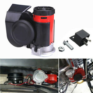 Very Loud 139 Db Dual Tone Compact Electric Air Horn For Motorcycle Boat Atv Red
