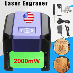 2000mw Diy Desktop Laser Engrave Machine Logo Marking Engraver Cutter Printer Us