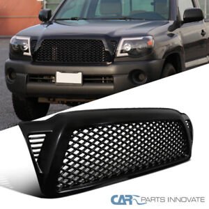 For 05 11 Toyota Tacoma Abs Black Mesh Honeycomb Front Bumper Hood Grille Grill
