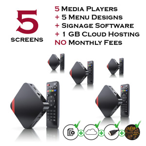 5 Screen Digital Menu Players Package For Fast Food With Free Signage Software