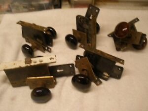 5 Pair Antique Glass Door Knobs With Faceplates And Locks