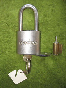 Medeco High Security Padlock Lock 5 1 4 Inches Tall Includes Extra Cylinder