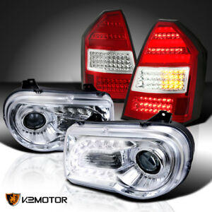2005 2007 Chrysler 300c Led Strip Projector Headlights Red Led Tail Lights