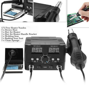 2 In 1 Lcd Soldering Iron Rework Stations Hot Air Desoldering Heater 750w 220v