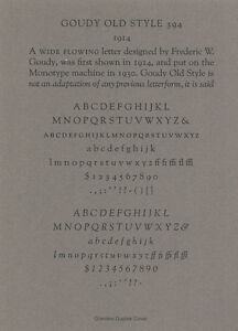 New Letterpress Type 12pt Goudy Old Style Caps Lower Case