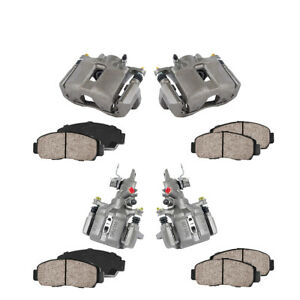 Front Rear Brake Calipers Ceramic Pads For 2004 2005 2006 2007 2008 Acura Tsx