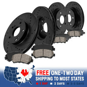 Front Rear Black Drill And Slot Brake Rotors Ceramic Pads For Chevy Gmc