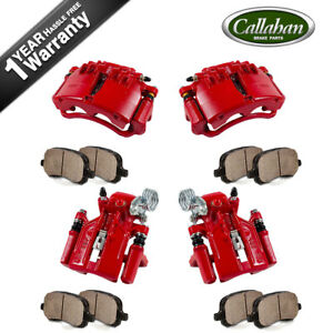 Front Rear Red Calipers Pads For 1999 2000 2001 2002 Ford Mustang Base Gt